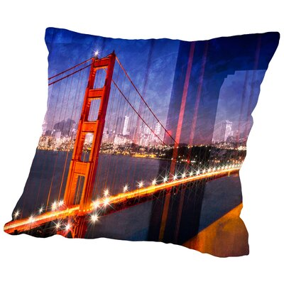 City Art Golden Gate Bridge Composing Throw Pillow Size: 18 H x 18 W x 2 D