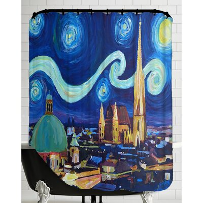 Starry Night in Vienna Austria - Saint Stephan Cathedral Van Gogh Inspirations Shower Curtain