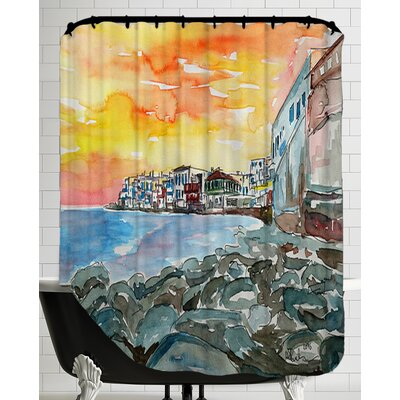 Magnificent Mykonos Sunset Scene Little Venice2 Shower Curtain