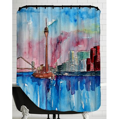 Dusseldorf Germany Media Harbour Sunset Shower Curtain
