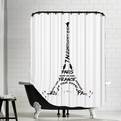Digital Art Eiffel Tower Shower Curtain Color: Black/White