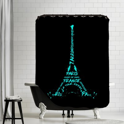 Digital Art Eiffel Tower Shower Curtain Color: Cyan/Black