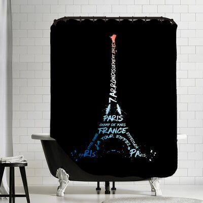 Digital Art Eiffel Tower Shower Curtain Color: White/Blue/Black