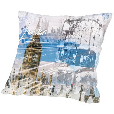 City Art London Westminster Collage Throw Pillow Size: 18 H x 18 W x 2 D