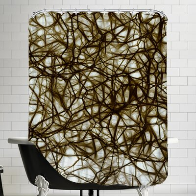 Modern Healthy Neurons Nerve Cell Biology Shower Curtain Color: Brown