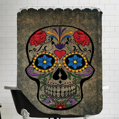 Floral Horror Skull Gothic Shower Curtain Color: Brown