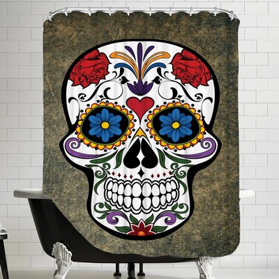 Floral Horror Skull Gothic Shower Curtain Color: White