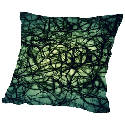 Modern Healthy Neurons Nerve Cell Biology Throw Pillow Size: 14 H x 14 W x 2 D, Color: Green