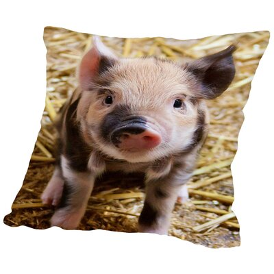 Pig Piglet Farm Throw Pillow Color: Natural, Size: 14 H x 14 W x 2 D