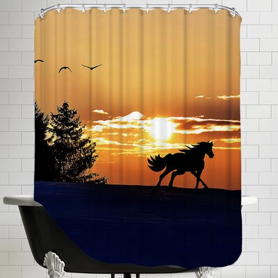 Sunrise Horse Clouds Nature Shower Curtain