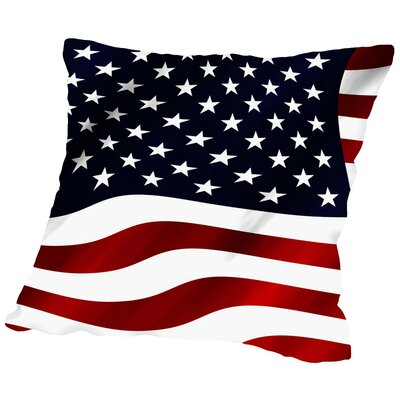 US America Flag Throw Pillow Size: 20