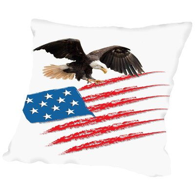 United States America Flag Throw Pillow Size: 16