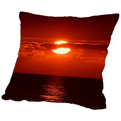 Sunset with Clouds and Ocean Throw Pillow Size: 14 H x 14 W x 2 D
