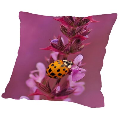 Flower with Ladybug Throw Pillow Size: 14 H x 14 W x 2 D