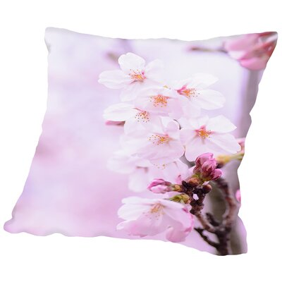 Cherry Blossom Japan Throw Pillow Size: 18 H x 18 W x 2 D