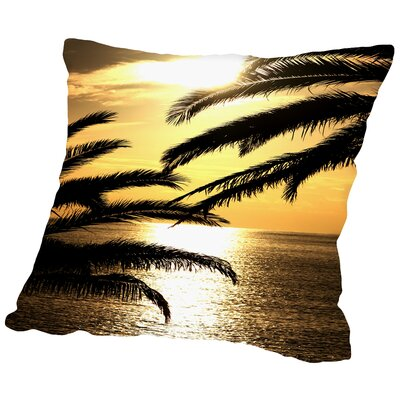 Sunset with Palm Leaf Travel Throw Pillow Size: 16 H x 16 W x 2 D