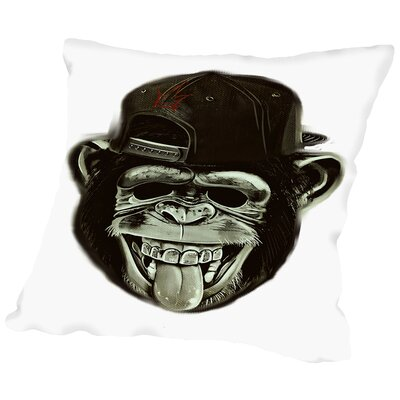 Hipster Monkey Ape Animal Throw Pillow Size: 14