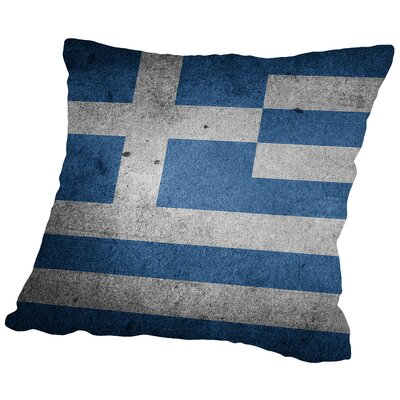 Greece Flag Throw Pillow Size: 16 H x 16 W x 2 D