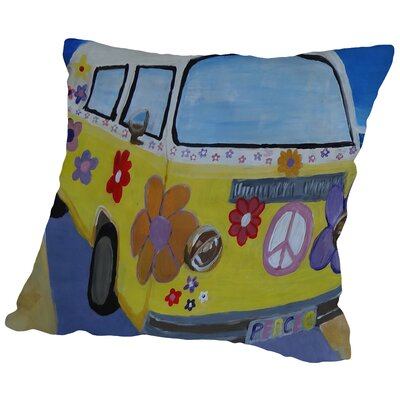 The VW Volkswagen Bully Series The Lady Flower Power Surf Bus Cotton Throw Pillow Size: 16 H x 16 W x 2 D