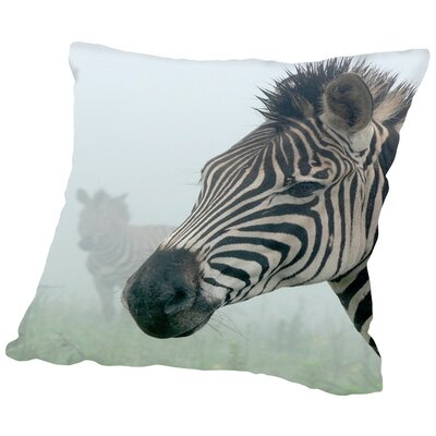 Zebra in The Fog Cotton Throw Pillow Size: 14 H x 14 W x 2 D