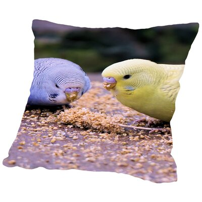 Eating Budgie Bird Wildlife Throw Pillow Size: 16 H x 16 W x 2 D