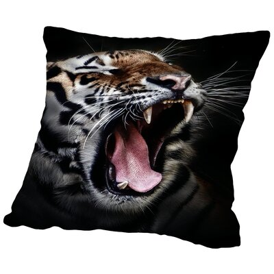 Dangerous Tiger Wildcat Throw Pillow Size: 16 H x 16 W x 2 D