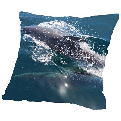 Dolphin Sealife Underwater Throw Pillow Size: 16 H x 16 W x 2 D