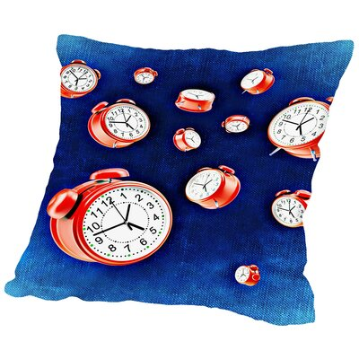 Design Of Clock Time Throw Pillow Size: 14 H x 14 W x 2 D