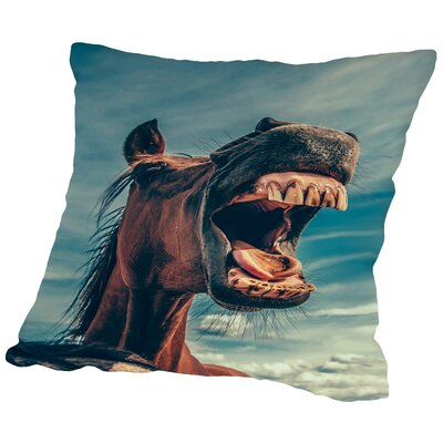 Funny Lucky Horse Animal Throw Pillow Size: 14 H x 14 W x 2 D