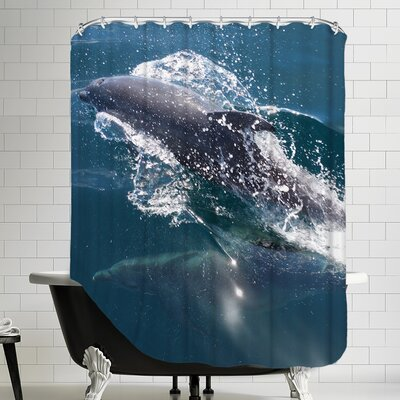 Dolphin Polyester Sealife Underwater Shower Curtain