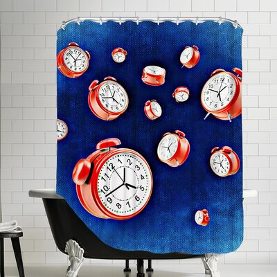 Polyester Design Of Clock Time Shower Curtain