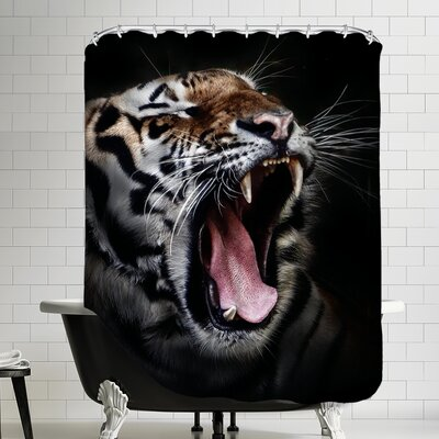 Dangerous Tiger Polyester Shower Curtain