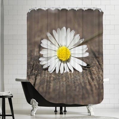 Polyester Daisy Flower On The Floor Shower Curtain