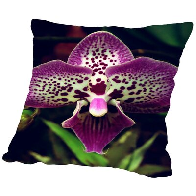 Orchid Flower Throw Pillow Size: 18 H x 18 W x 2 D