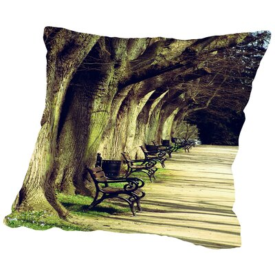 Tree Avenue Landscape Throw Pillow Size: 16 H x 16 W x 2 D