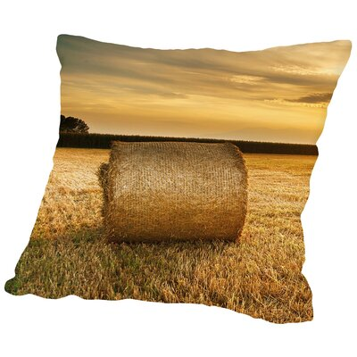 Hay Landscape Sun Nature Throw Pillow Size: 18