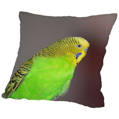 Green Budgie Bird Parrot Throw Pillow Size: 16