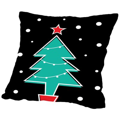 Christmas Tree Print Cotton Throw Pillow Size: 14 H x 14 W x 2 D