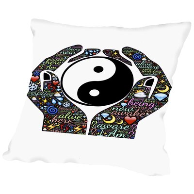 Yin And Yang Symbol Hands Throw Pillow Size: 18 H x 18 W x 2 D