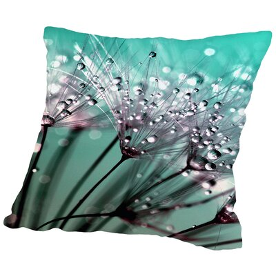 Dandelion Flower With Water Drops Throw Pillow Size: 14 H x 14 W x 2 D