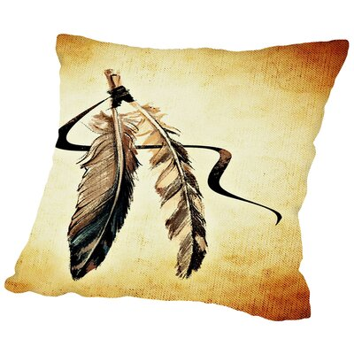 Feather Bird Paint Throw Pillow Size: 16 H x 16 W x 2 D