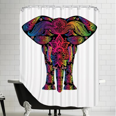 Decor Elephant Polyester Animal Colorful Shower Curtain