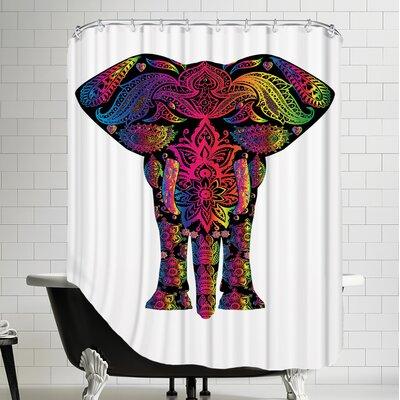 Decor Elephant Polyester Animal Colorful Shower Curtain