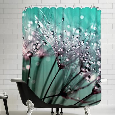 Dandelion Flower Polyester Water Drops Shower Curtain