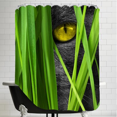 Cat With Grass Landscape Shower Curtain