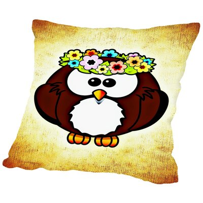 Cool And Funny Owl Bird Throw Pillow Size: 18 H x 18 W x 2 D