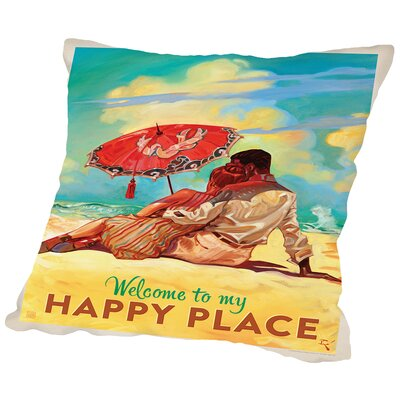 Happy Place Throw Pillow Size: 16 H x 16 W x 2 D