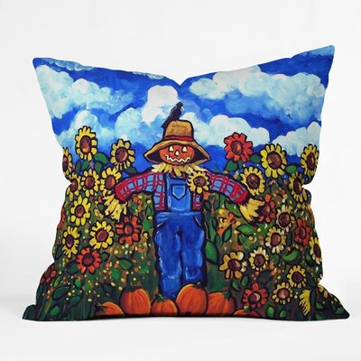 Scarecrow and Pumpkins Throw Pillow Size: 16 H x 16 W x 4 D