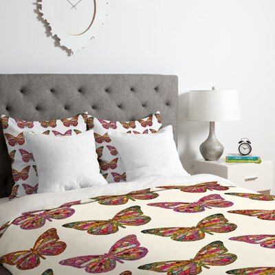 Butterflies Fly Duvet Cover Set Size: Queen