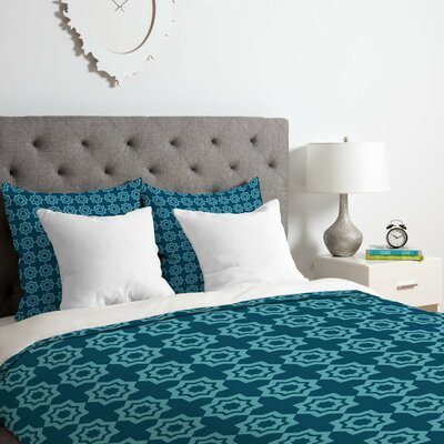 Khristian A Howell Moroccan Mirage Duvet Cover Set Color: Blue, Size: Queen